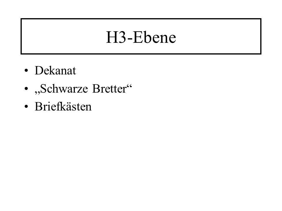 """H3-Ebene Dekanat """"Schwarze Bretter Briefkästen"""