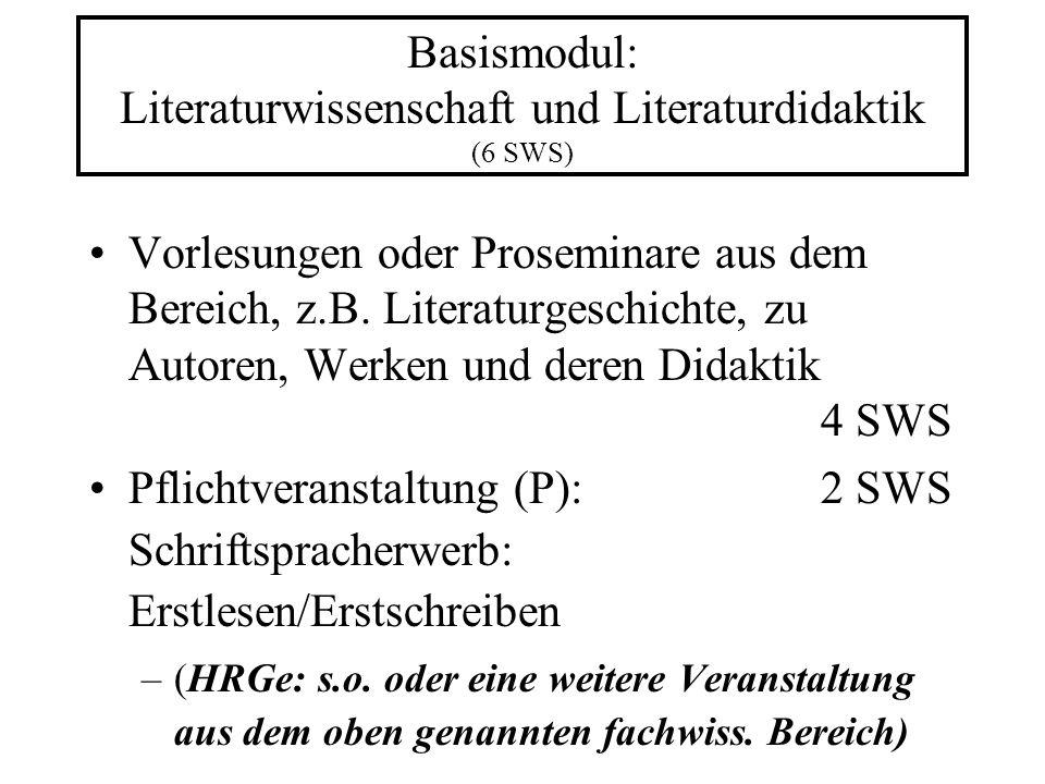 Basismodul: Literaturwissenschaft und Literaturdidaktik (6 SWS)