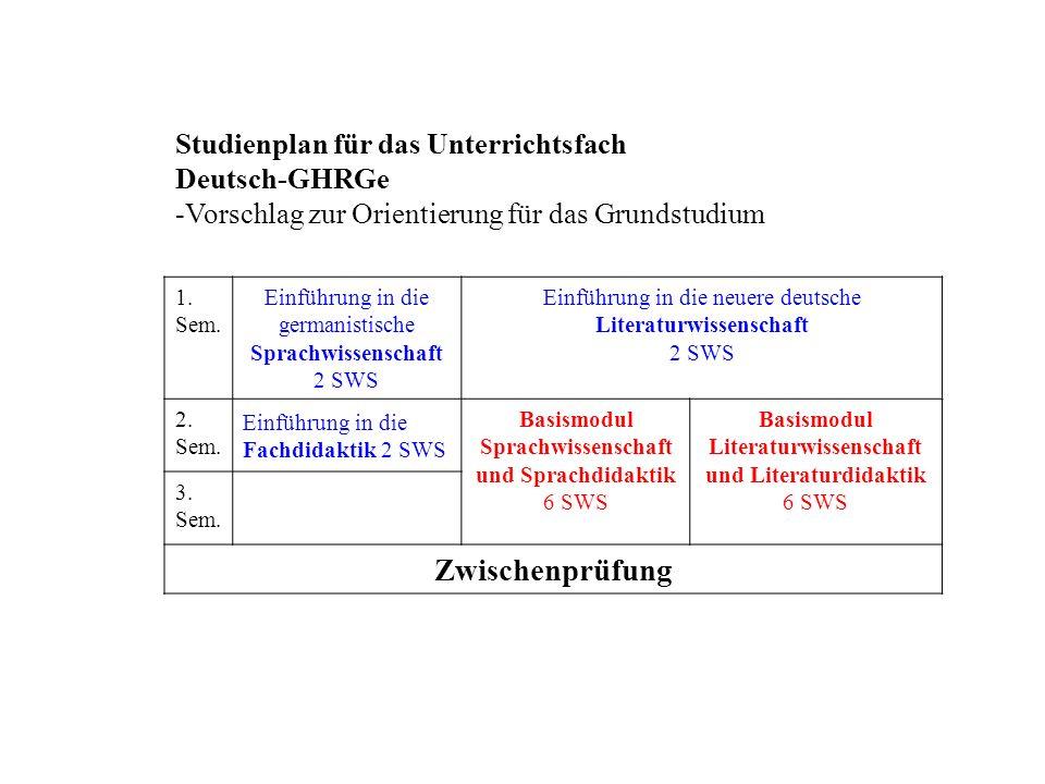 Zwischenprüfung Studienplan für das Unterrichtsfach Deutsch-GHRGe
