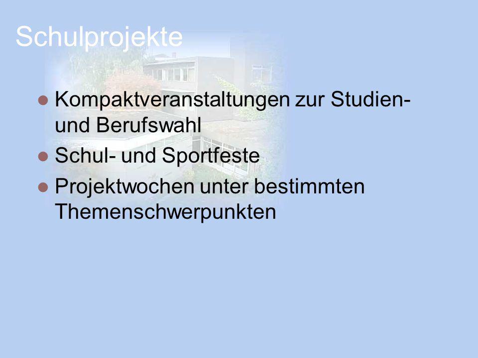 Schulprojekte Kompaktveranstaltungen zur Studien- und Berufswahl