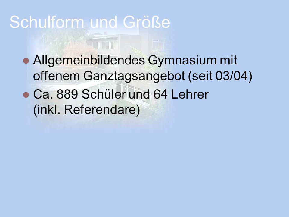 Schulform und Größe Allgemeinbildendes Gymnasium mit offenem Ganztagsangebot (seit 03/04)
