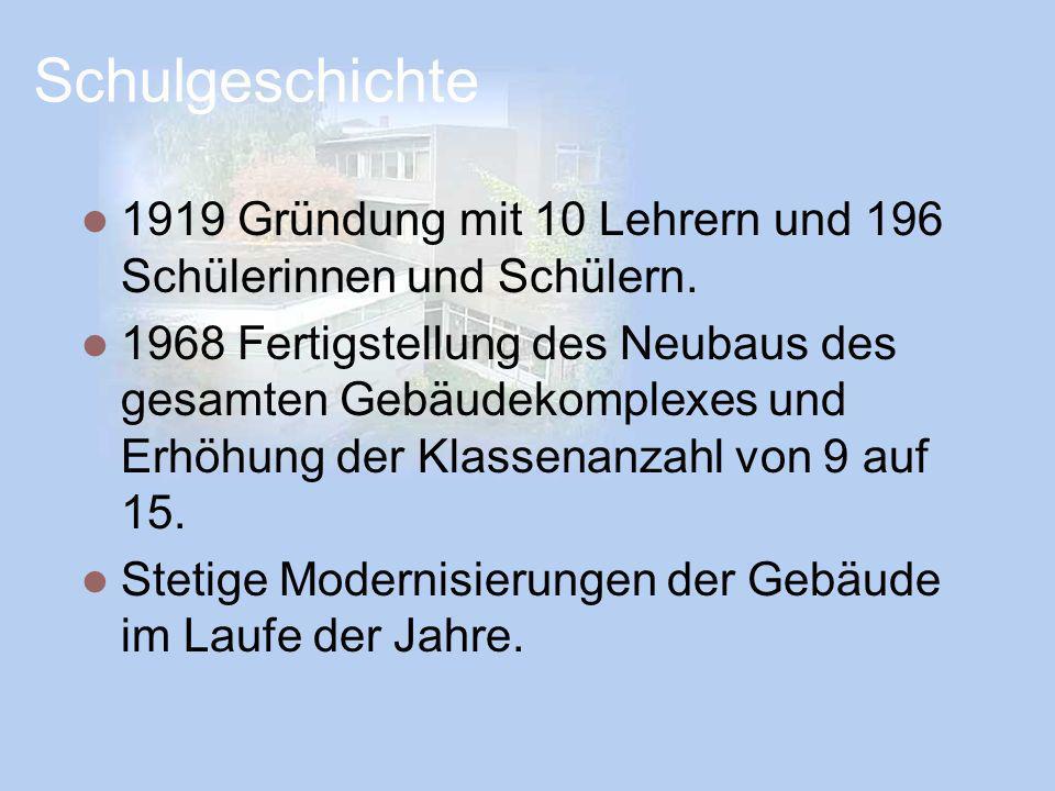 Schulgeschichte 1919 Gründung mit 10 Lehrern und 196 Schülerinnen und Schülern.