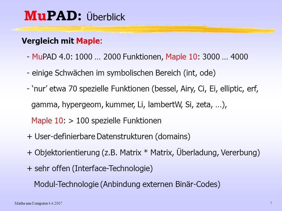 MuPAD: Überblick Vergleich mit Maple: