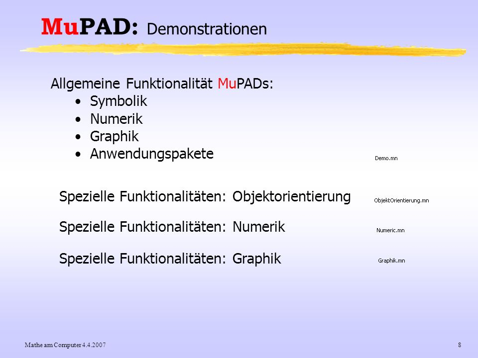 MuPAD: Demonstrationen