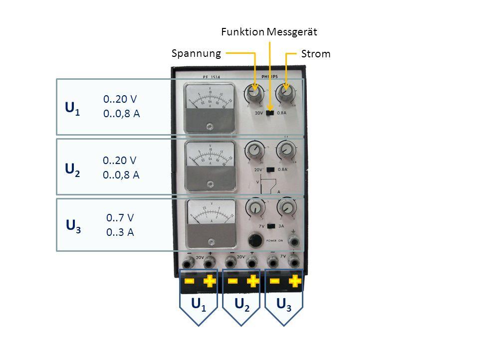 U1 U2 U3 U1 Funktion Messgerät Spannung Strom 0..20 V 0..0,8 A 0..20 V