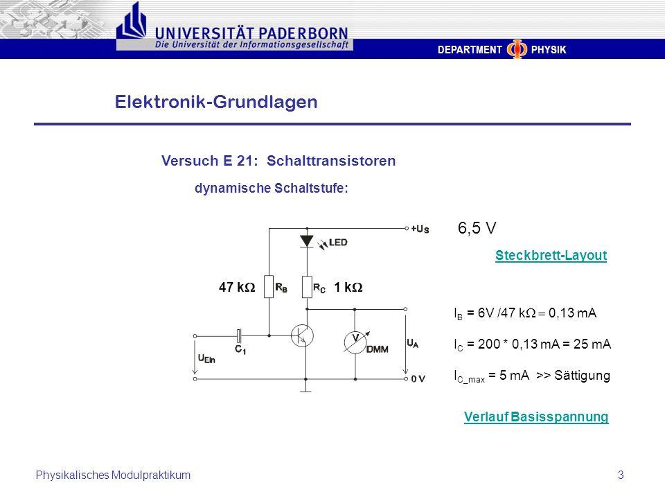 6,5 V Versuch E 21: Schalttransistoren dynamische Schaltstufe:
