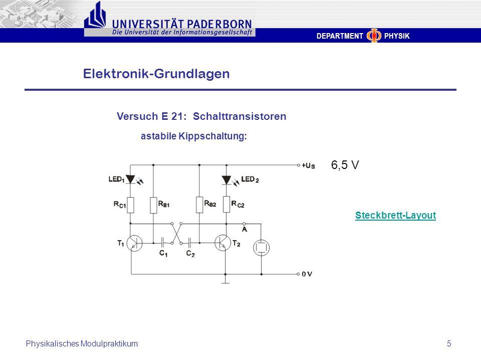 6,5 V Versuch E 21: Schalttransistoren astabile Kippschaltung: