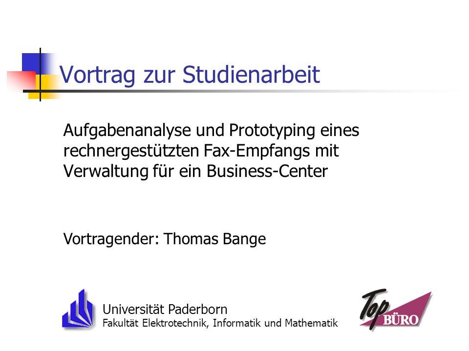 Vortrag zur Studienarbeit