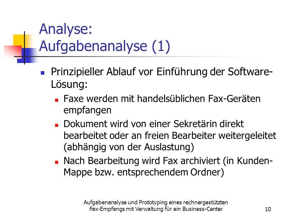 Analyse: Aufgabenanalyse (1)