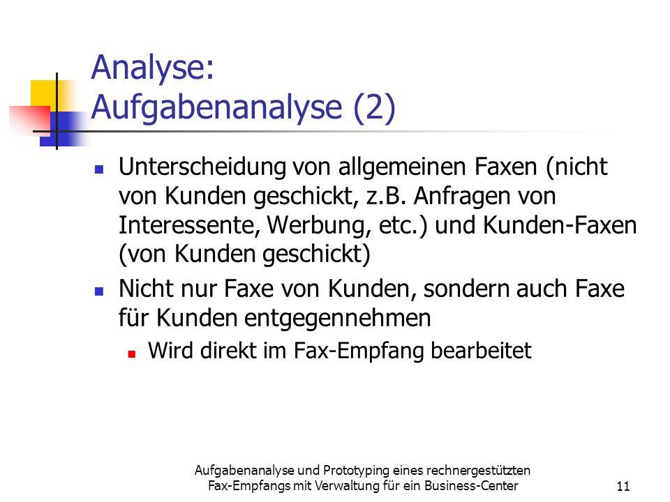 Analyse: Aufgabenanalyse (2)