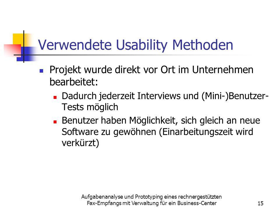 Verwendete Usability Methoden
