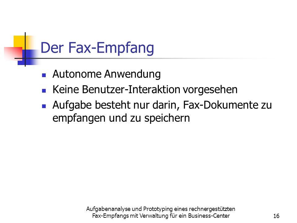 Der Fax-Empfang Autonome Anwendung