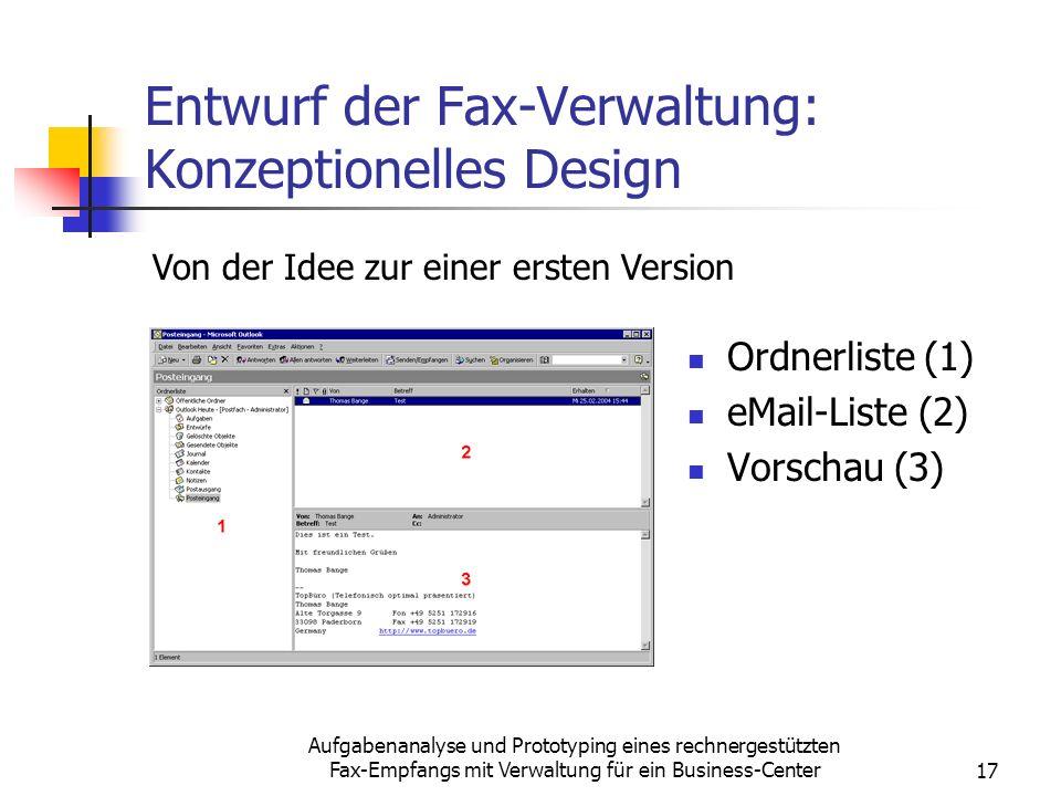 Entwurf der Fax-Verwaltung: Konzeptionelles Design