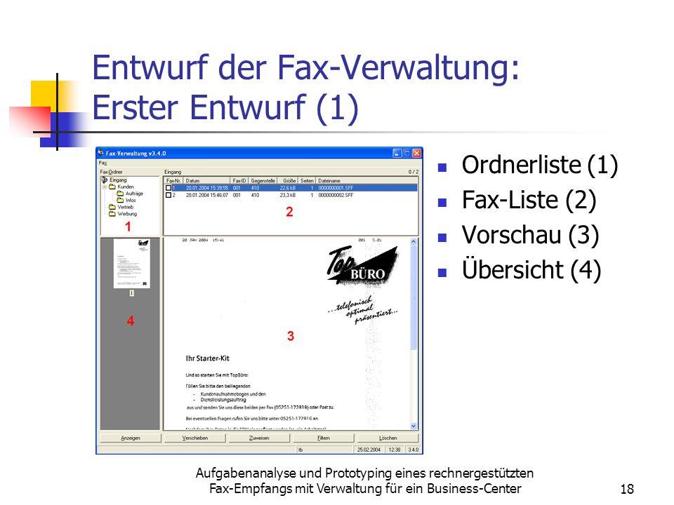 Entwurf der Fax-Verwaltung: Erster Entwurf (1)