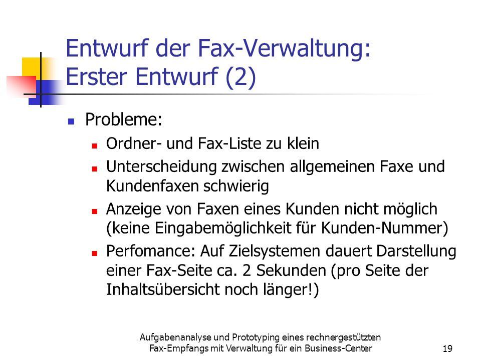 Entwurf der Fax-Verwaltung: Erster Entwurf (2)