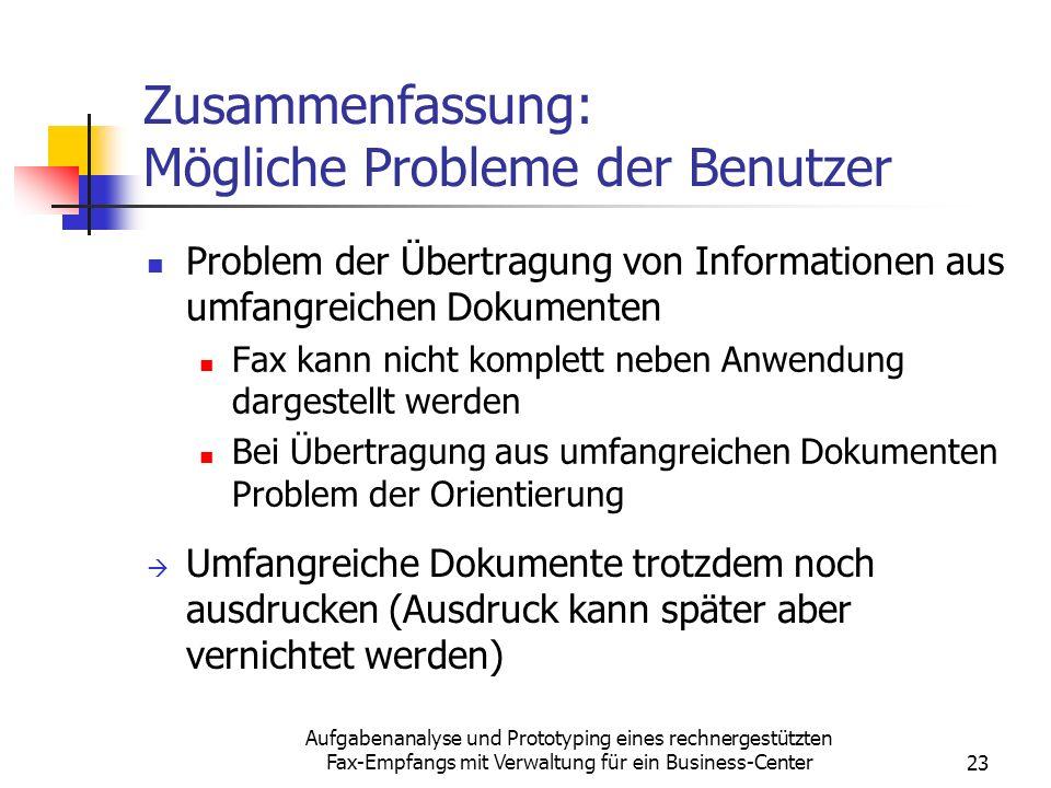 Zusammenfassung: Mögliche Probleme der Benutzer