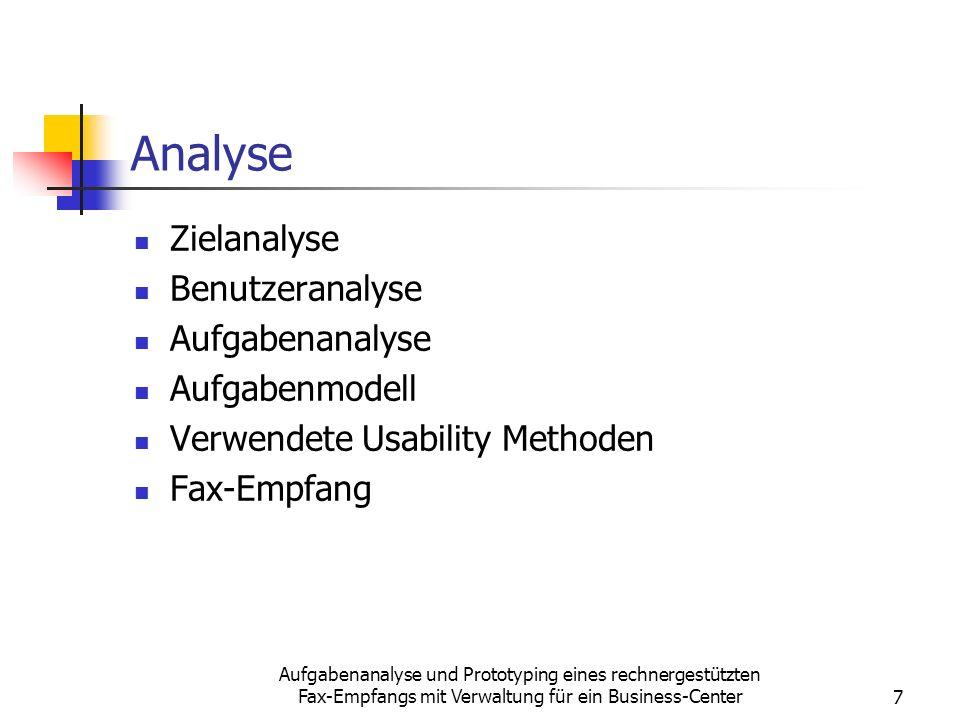 Analyse Zielanalyse Benutzeranalyse Aufgabenanalyse Aufgabenmodell