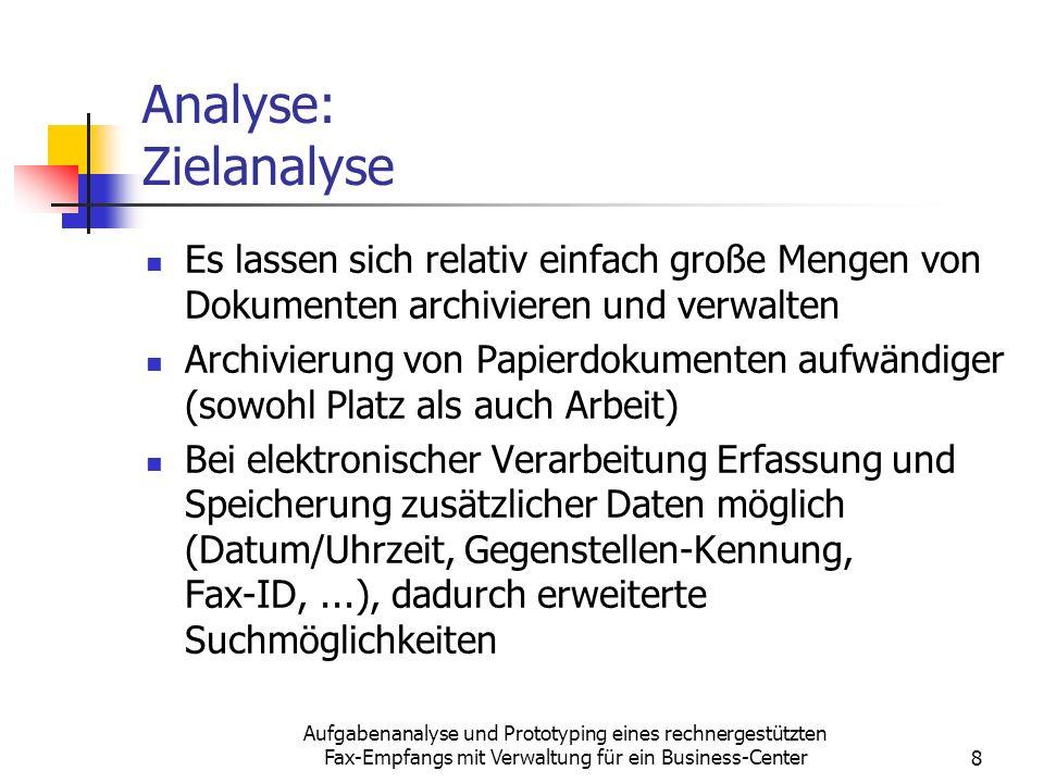 Analyse: Zielanalyse Es lassen sich relativ einfach große Mengen von Dokumenten archivieren und verwalten.