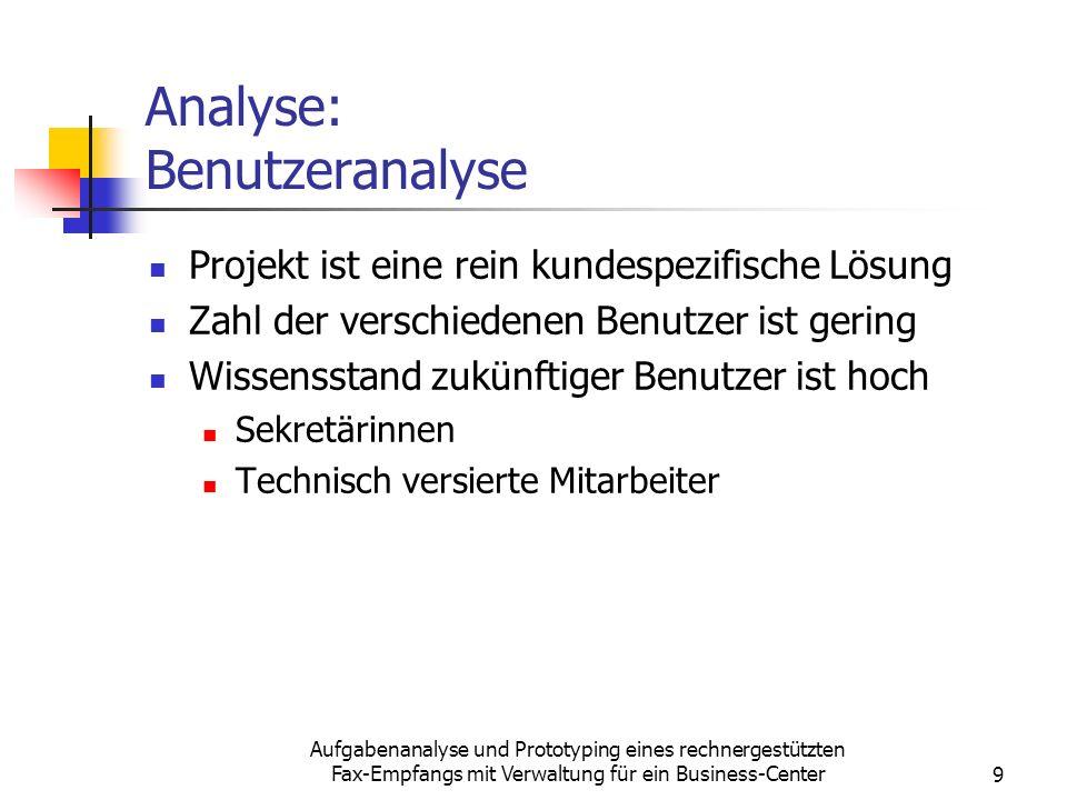 Analyse: Benutzeranalyse