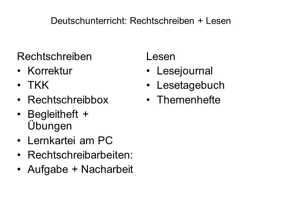 Deutschunterricht: Rechtschreiben + Lesen