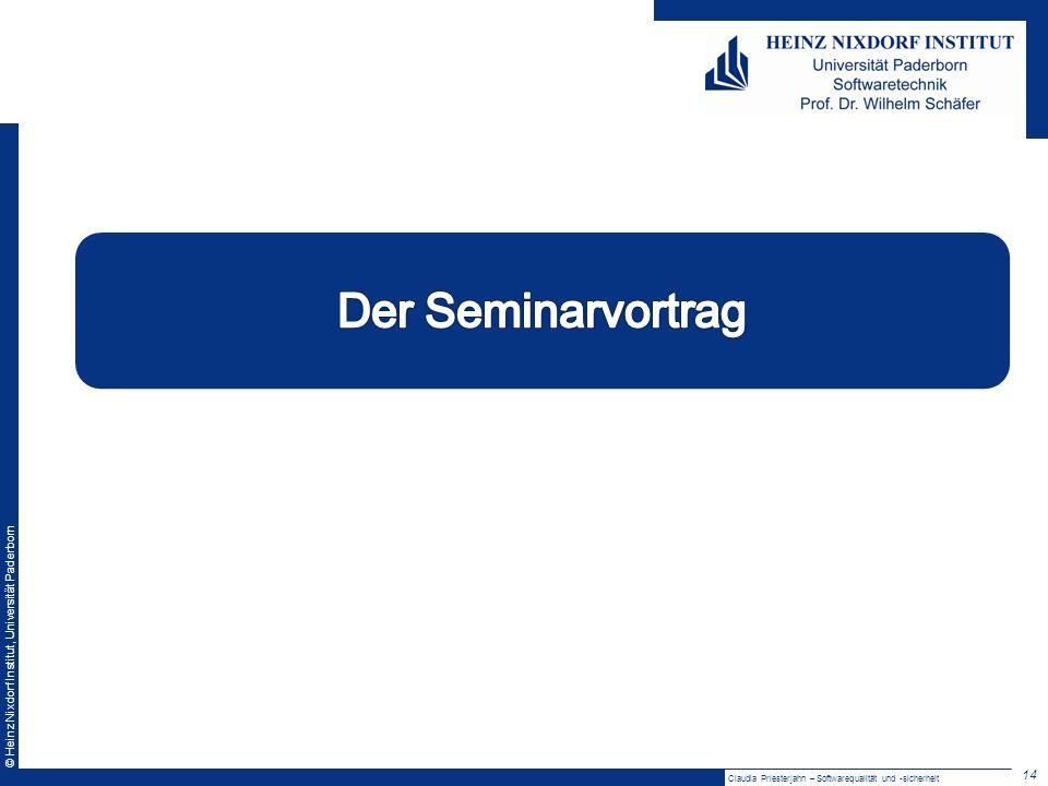 Der Seminarvortrag Claudia Priesterjahn – Softwarequalität und -sicherheit
