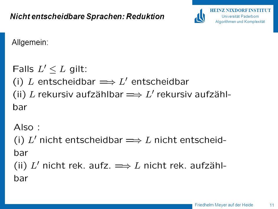 Nicht entscheidbare Sprachen: Reduktion