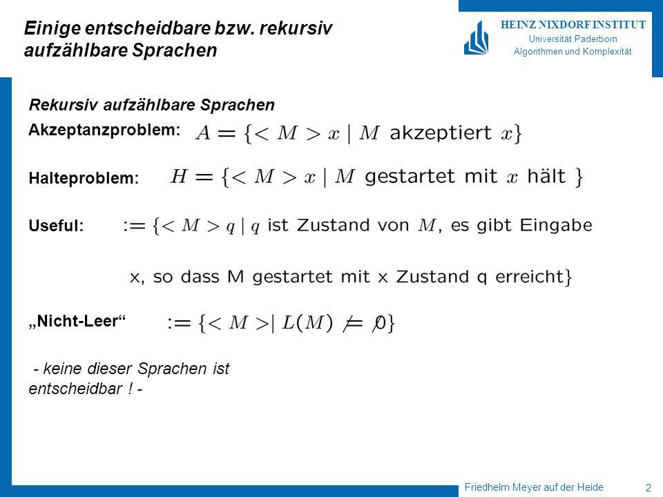 Einige entscheidbare bzw. rekursiv aufzählbare Sprachen