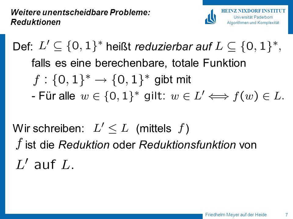Weitere unentscheidbare Probleme: Reduktionen