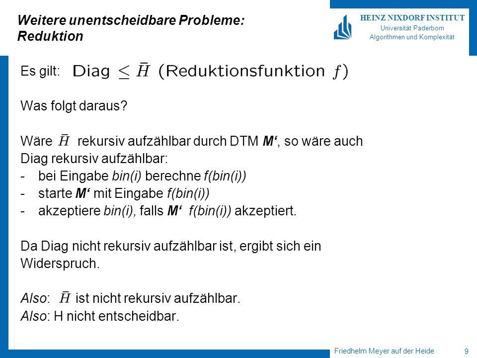 Weitere unentscheidbare Probleme: Reduktion