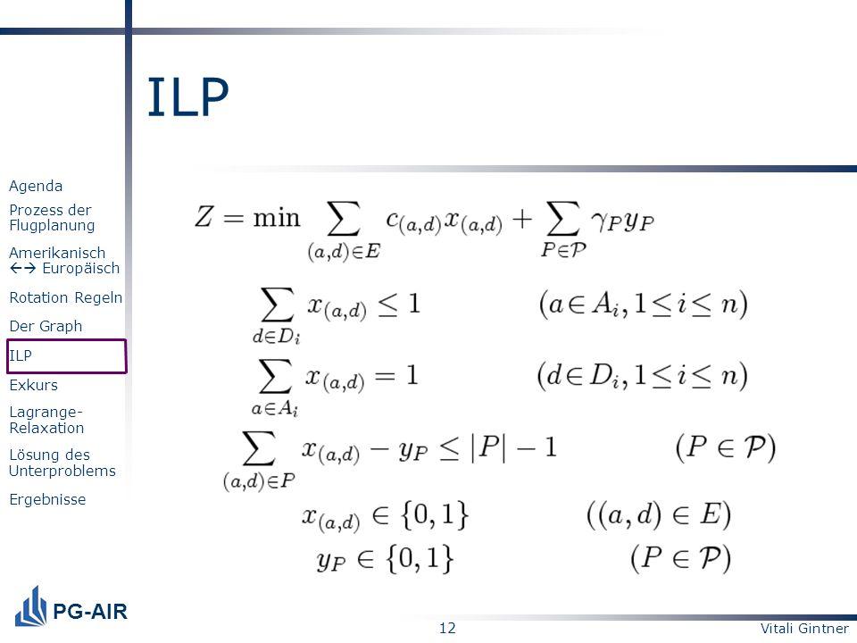 ILPOptimale Lösung dieses linearen ganzzahligen Programms ist die optimale Lösung des Rotationsproblems.