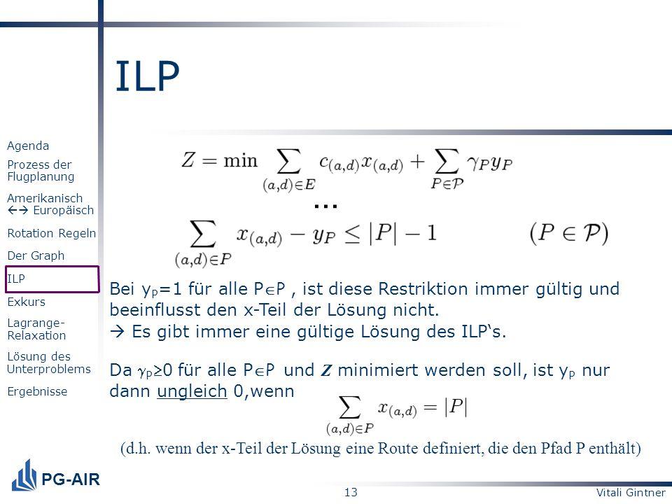 ILP ... Bei yP=1 für alle PP , ist diese Restriktion immer gültig und beeinflusst den x-Teil der Lösung nicht.