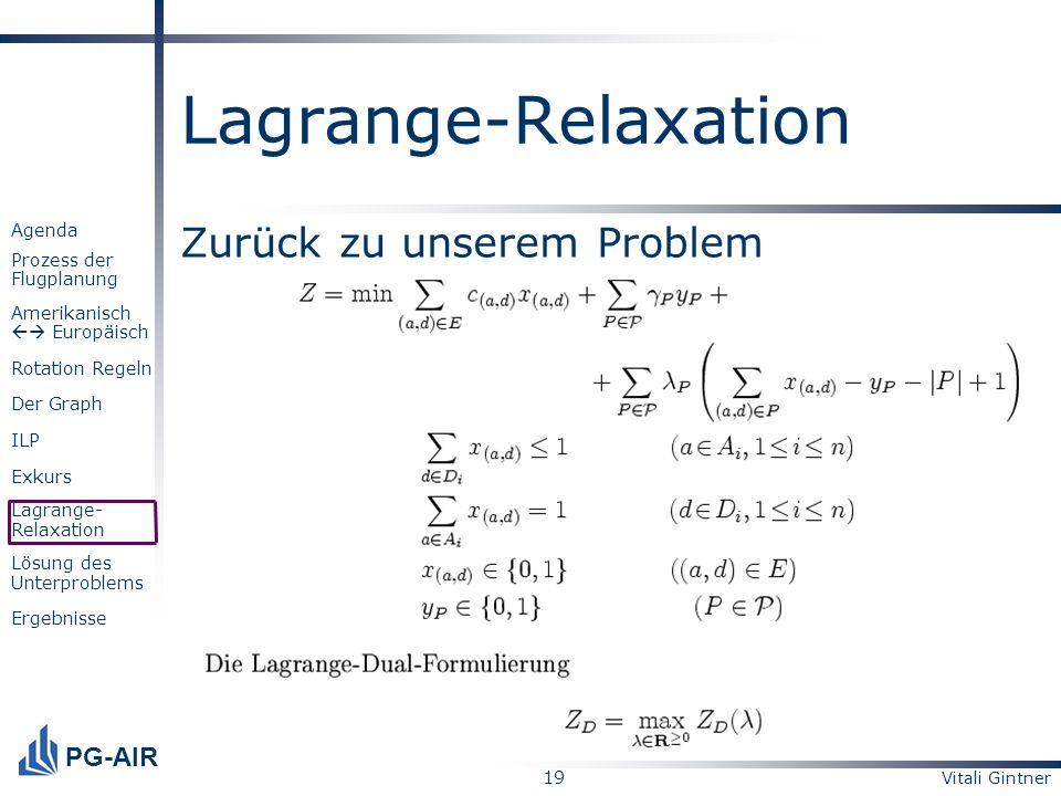 Lagrange-Relaxation Zurück zu unserem Problem