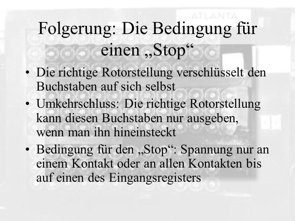 """Folgerung: Die Bedingung für einen """"Stop"""