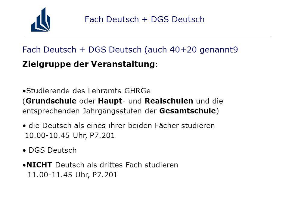 Fach Deutsch + DGS Deutsch