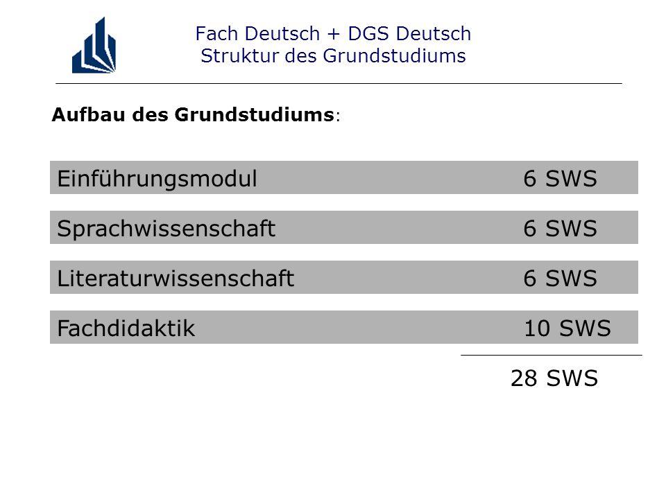 Fach Deutsch + DGS Deutsch Struktur des Grundstudiums