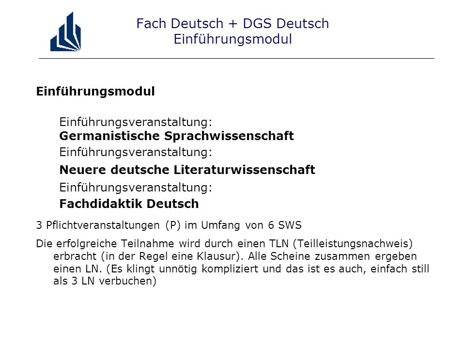 Fach Deutsch + DGS Deutsch Einführungsmodul