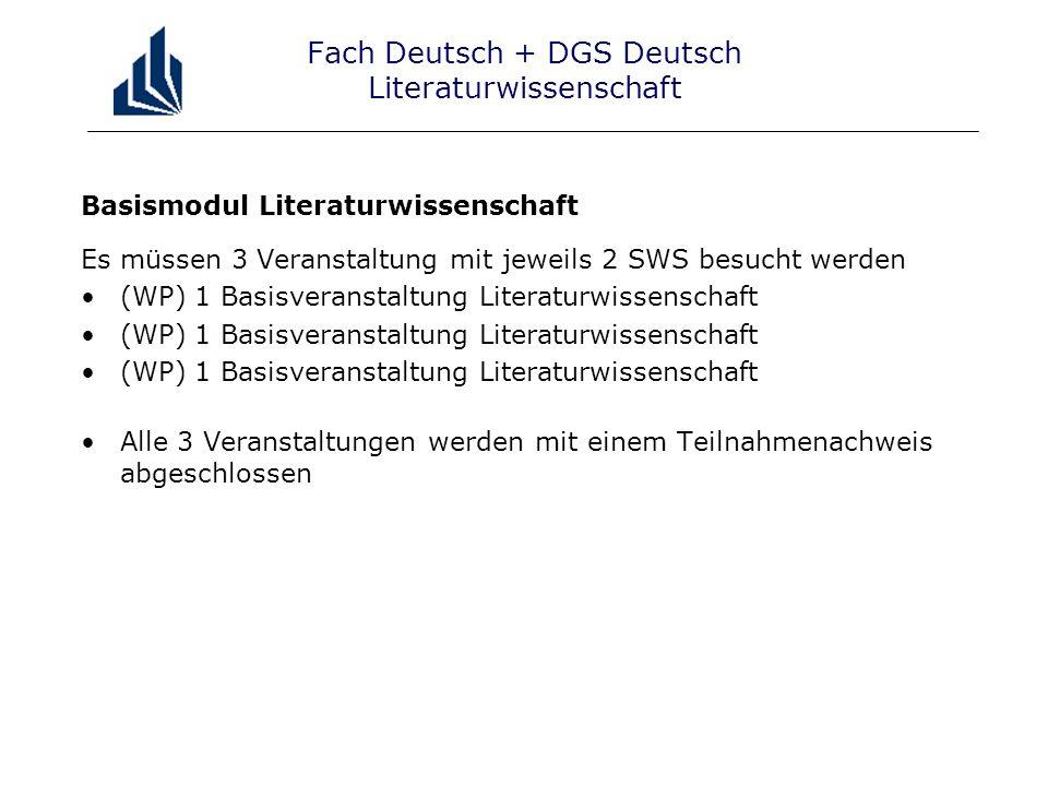Fach Deutsch + DGS Deutsch Literaturwissenschaft