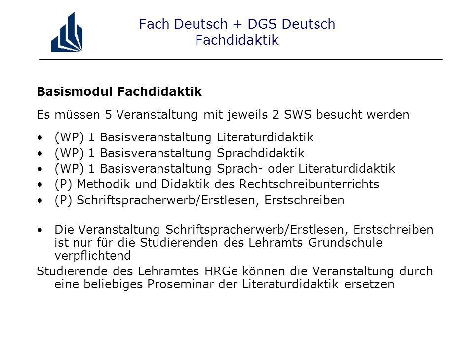 Fach Deutsch + DGS Deutsch Fachdidaktik