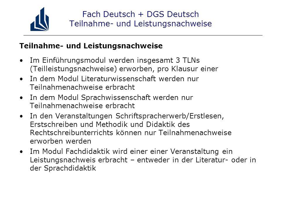 Fach Deutsch + DGS Deutsch Teilnahme- und Leistungsnachweise