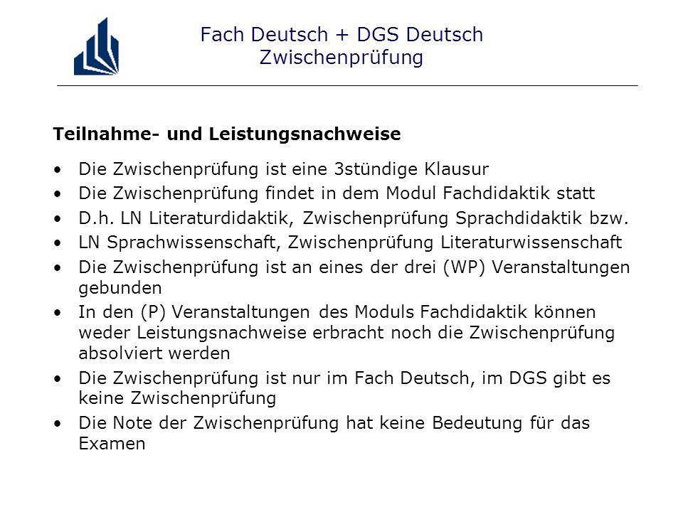 Fach Deutsch + DGS Deutsch Zwischenprüfung