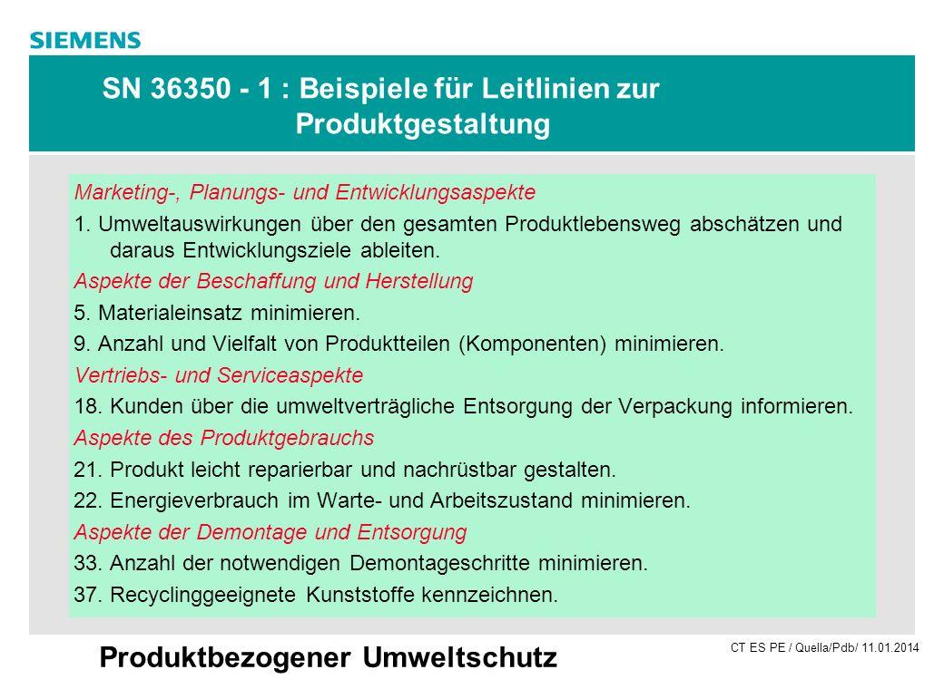 SN 36350 - 1 : Beispiele für Leitlinien zur Produktgestaltung