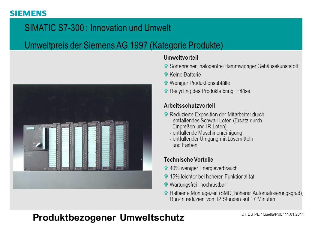 SIMATIC S7-300 : Innovation und Umwelt