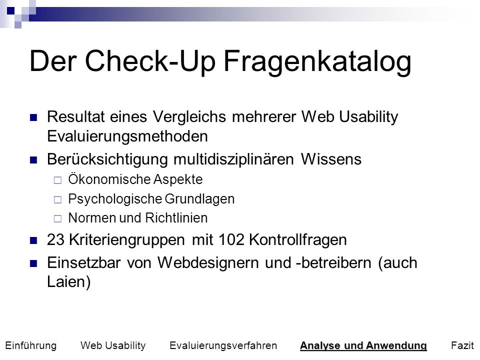 Der Check-Up Fragenkatalog