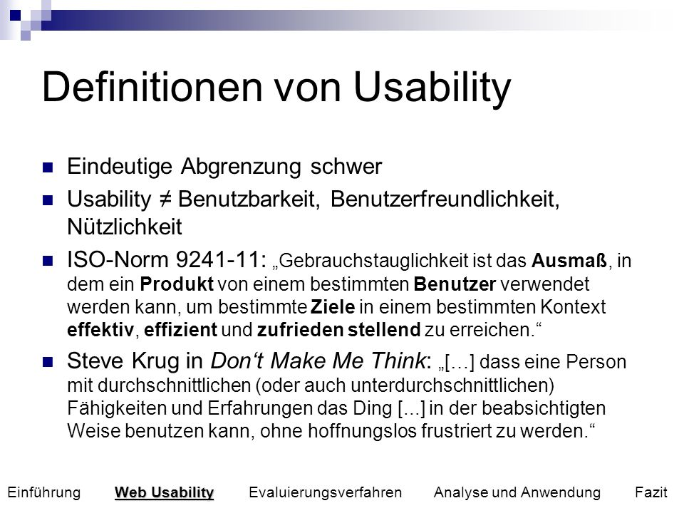 Definitionen von Usability