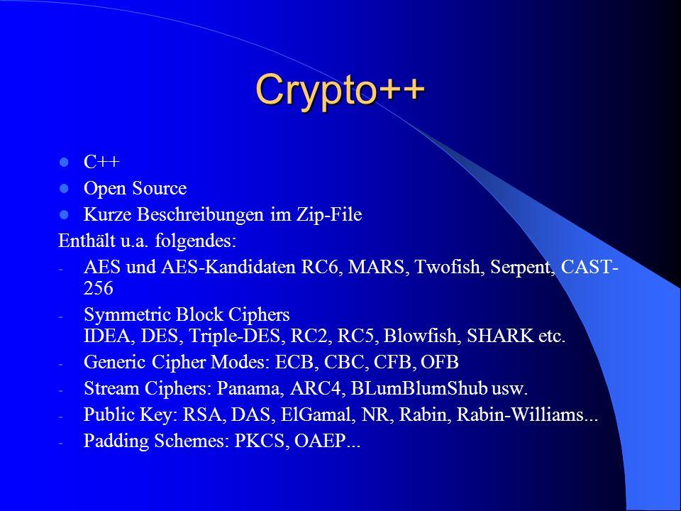 Crypto++ C++ Open Source Kurze Beschreibungen im Zip-File
