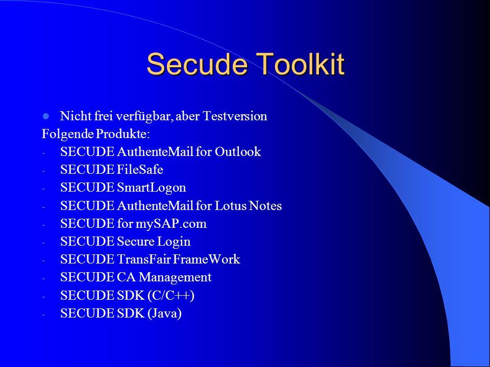 Secude Toolkit Nicht frei verfügbar, aber Testversion