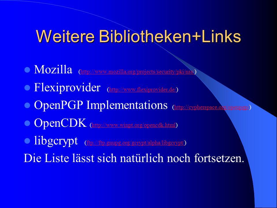 Weitere Bibliotheken+Links