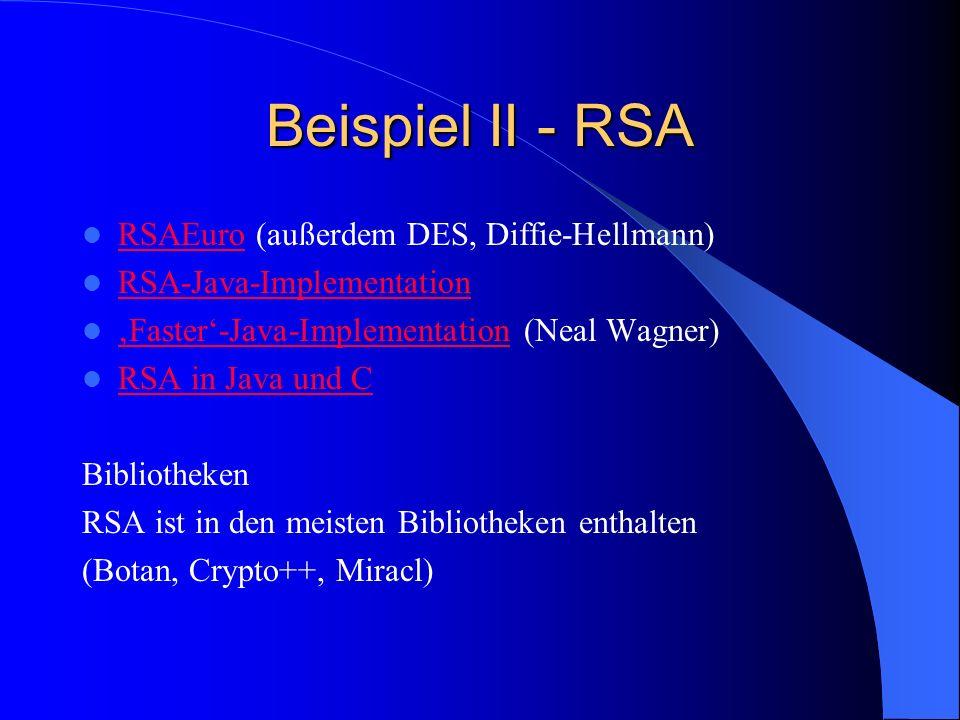 Beispiel II - RSA RSAEuro (außerdem DES, Diffie-Hellmann)