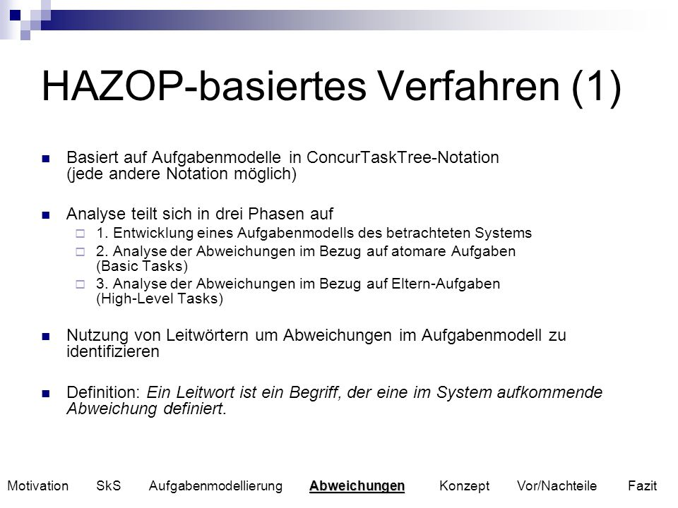 HAZOP-basiertes Verfahren (1)