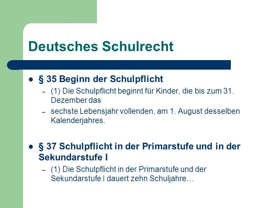 Deutsches Schulrecht § 35 Beginn der Schulpflicht